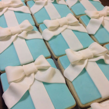 Designer Inspired Tiffany & Co. Sugar Cookies, Tiffany's party favors, Bridal Shower Cookies