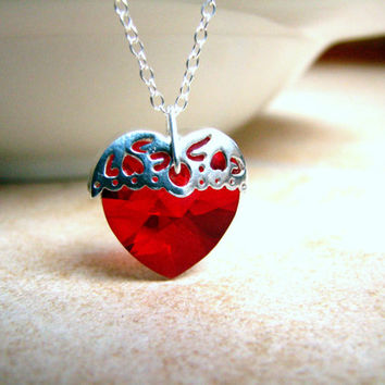 Crystal Heart Necklace -Valentines Necklace -Love -Romance -Sterling Silver- Filigree- Wedding Necklace- Purple- Red- Bermuda- Green