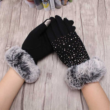 Winter Warmer Accessories Soft Cashmere Gloves Womens Winter Party Prom Covered Fingers Rabbit Fur Mittens Outdoor Workout Glove