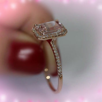 Beautiful 5x7mm Emerald Cut Morganite Ring 14K Rose Gold SI/H Diamond Pink Morganite Ring   Engagement Wedding Band Ring
