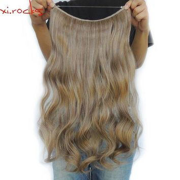 ESB1ON Xi.rocks 25 Colors Halo Elastic Rope Hair Extension 24inches Synthetic Weave Around the Head or Curly Sew in Weave Double Weft