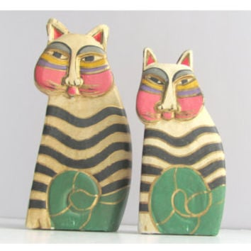 Vintage Laurel Burch Wooden Rainbow Cat Figurines