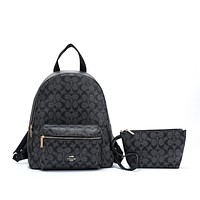 Coach Women Fashion Leather Backpack Bookbag Daypack Clutch bag Set Two Piece