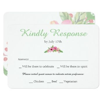 Elegant Floral White Wedding RSVP Card