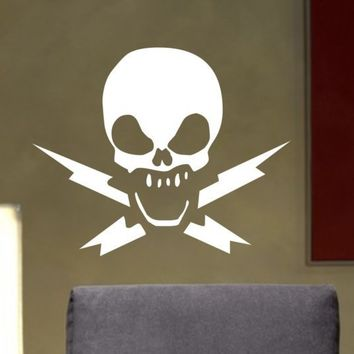 Skull and Lightning Crossbones Decal Sticker by dabbledownJunior