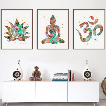 Buddha Wall Decor, Buddhist Art, 3 Prints Set, Lotus, Om Symbol, Buddha, Yoga Studio, Yoga Wall Decor, Meditation Art, Zen Art, Watercolor