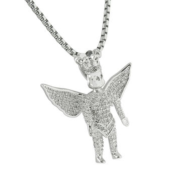 Guardian Angel Pendant Fully Iced Out Hip Hop White Gold Finish Lab Diamonds Box Chain