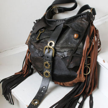 Unique large pirate style leather bag steampunk hobo deep brown asymmetrical bohemian tribal high fashion purse sweet smoke free people