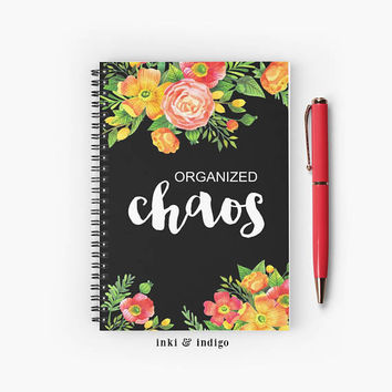 Organized Chaos - Spiral Notebook With Lined Paper, A5 Writing Journal, Diary, Black Floral Notebook, Cute Journal