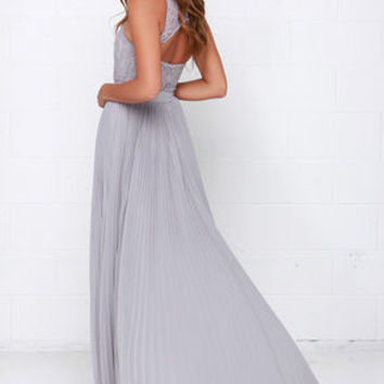Say You Will Grey Lace Maxi Dress