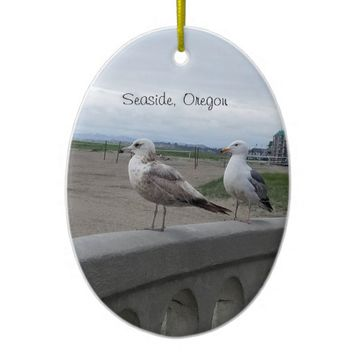 Seaside Oregon Seagulls on the Beach Prom Ornament