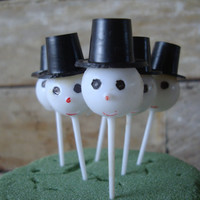 Vintage Cup Cake Picks or Toppers Snowmen Set of 6