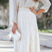 Hollow Out Lace High Waist Swing Skirt