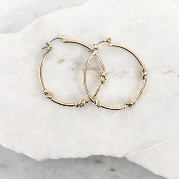 Knot Even Mini Gold Hoop Earrings