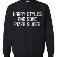 One Direction, Harry Styles And Some Pizza Slices Custom Made Sweatshirt, Harry Styles Jumper Shirt