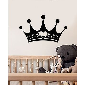 Vinyl Wall Decal Crown Queen Room For Little Princess Baby Nursery Stickers (3311ig)
