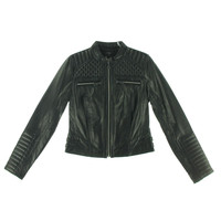 Marc New York Womens Leather Quilted Motorcycle Jacket