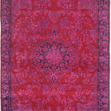 "6'7"" x 6'10"" Fuschia Pink Turkish Overdyed Rug"