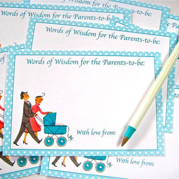 Baby Shower Advice Cards/Favors for Proud Parents Retro Inspired Set of 12