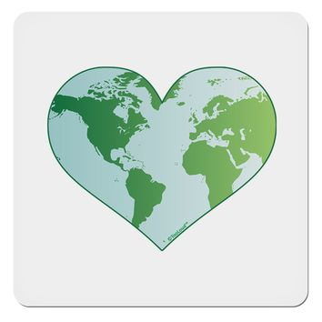 "World Globe Heart 4x4"" Square Sticker"