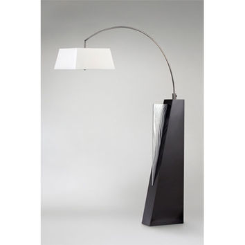 NOVA Lighting 2110379 Edge Brushed Aluminum and Dark Brown One-Light Arc Lamp with Cream Linen Shade