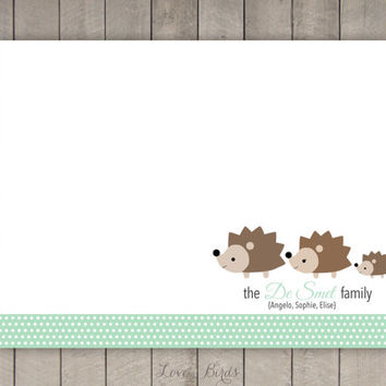 Personalized Hedgehog Family Note Card