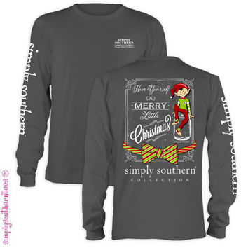 Simply Southern Merry Little Christmas Elf Bow Girlie Bright Long Sleeve T Shirt