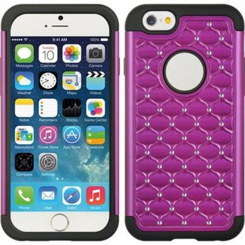 Apple iPhone 6s Plus Case / 6 Plus Case Crystal Rhinestone Slim Hybrid Dual Layer Case - Purple/Black
