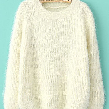 Pull-over large en mohair -Beige