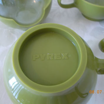 PYREX  Glass Hot Beverage Cups Vintage Hot Cold Coffee and Tea Cups Avacodo Green 1960's