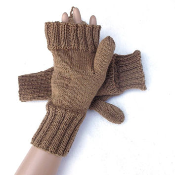 Hand knitted convertible gloves, knit cabled wool gloves, knitting accessories, brown convertible mitts, fingerless gloves brown arm warmers