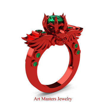 Art Masters Classic Winged Skull 14K Red Gold 1.0 Ct Emerald Solitaire Engagement Ring R613-14KRGEM