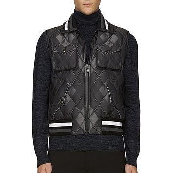 Moncler Gamme Bleu Gray And Black Quilted Argyle Vest