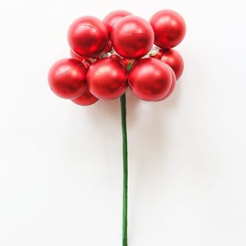 "Pack of 12 Matte Red Bulb Christmas Ornaments - 1.2"" Wide"