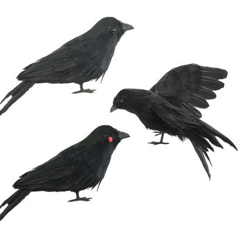 3PCS Realistic Looking Halloween Decoration Birds spreading wings Black Feathered Crows Halloween Prop Decor