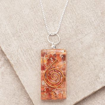Carnelian Orgone Necklace - 24 inch Silver Chain