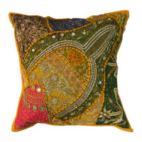 Antique Yellow Beads Work & Embroidered Cotton Throw Pillow Case Sham