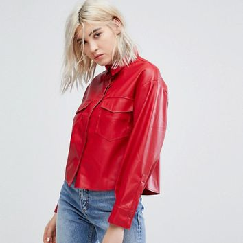 Bershka Double Pocket Shirt With Covered Placket at asos.com