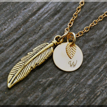 Gold Feather Charm Necklace, Initial Charm Necklace, Personalized, Native American Feather Charm, Feather Pendant, Feather Jewelry