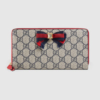 Gucci Grosgrain GG Supreme zip around wallet
