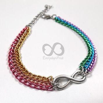 Rainbow LGBT Gay Pride Chain Bracelet with Small Infinity Symbol Charm