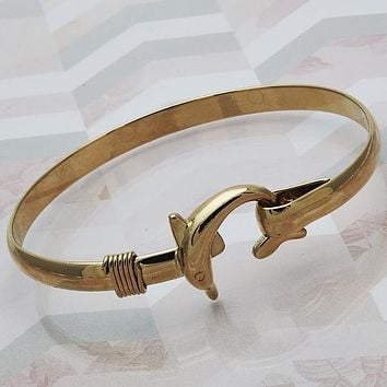 Gold Layered Women Dolphin Individual Bangle, Size 4 - 2.25 Diameter by Folks Jewelry