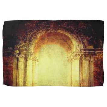 Vintage fort entrance gate texture design hand towel