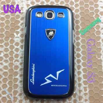 Lamborghini Samsung Galaxy S3 Case Lambo 3D Metal Logo with Cover for S3 / i9300 - F1 Blue