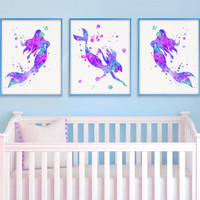 Mermaid Nursery Decor, Watercolor Nursery Art, Nursery Wall Art, Mermaid Art Prints, Watercolor Mermaid, Girls Room Decor, Baby Girl Nursery