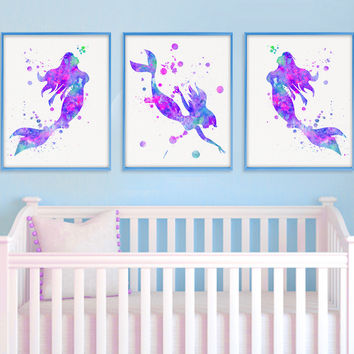 Mermaid Nursery Decor, Watercolor Nursery Art, Nursery Wall Art,