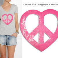 Iron On Heart Peace Patch Applique for DIY Crafts and Home Decor