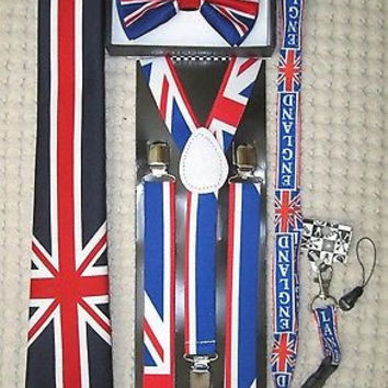 UK British Flag Y-Back Suspenders,UK Lanyard,UK Neck Tie & UK British Bow Tie-v3