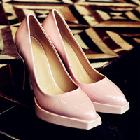 Korean Stylish Classics Sweets Leather High Heel Shoes [4920471108]
