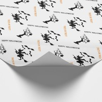 Halloween witch, bats and tree with owl cute wrapping paper
